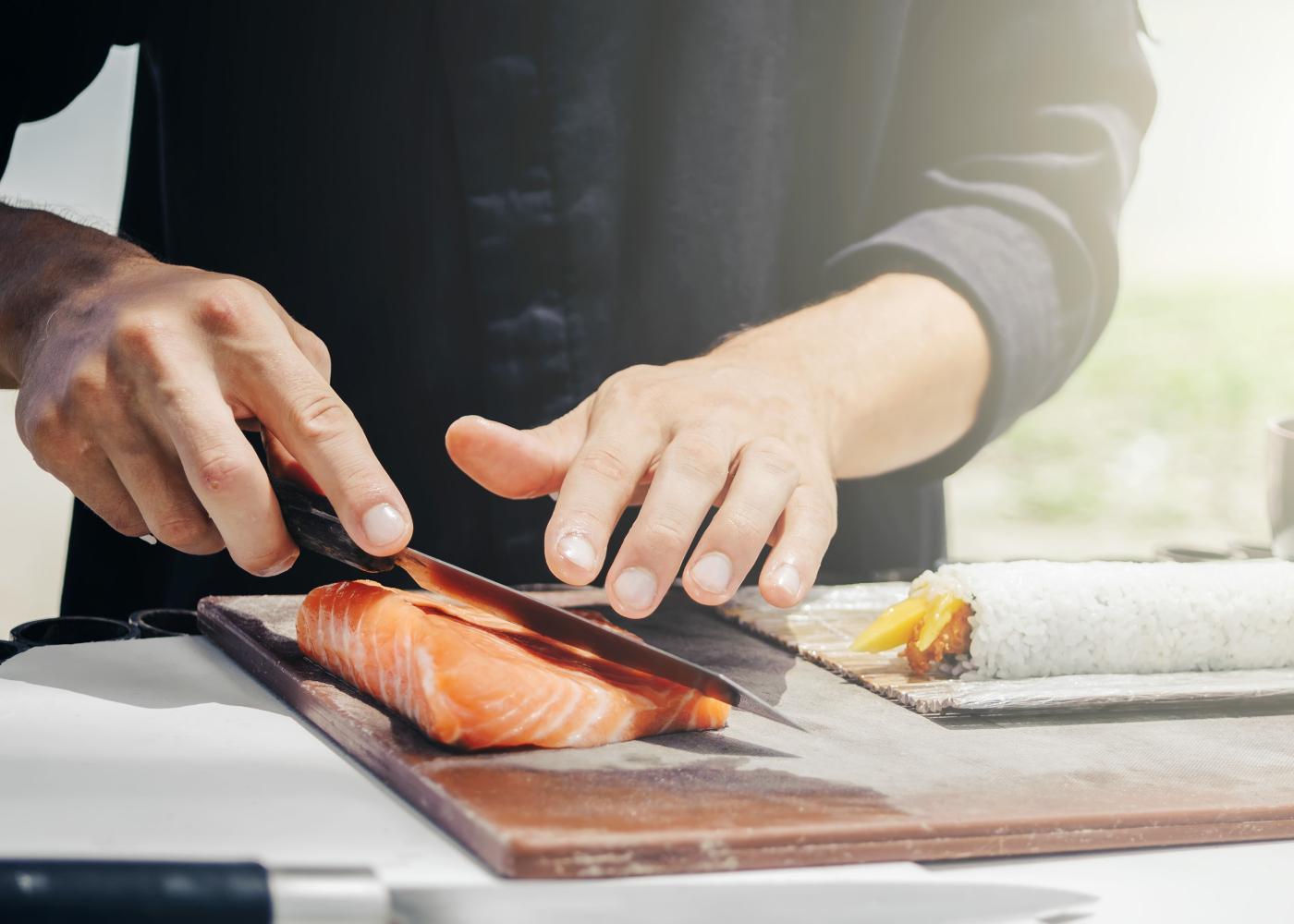 preparação do salmão