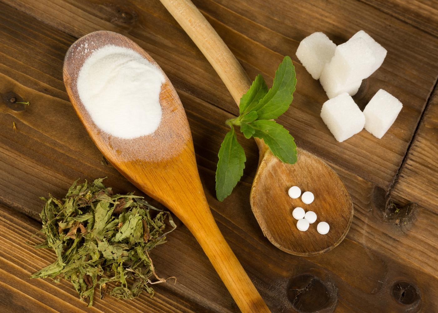 Stevia em pastilhas e em pó