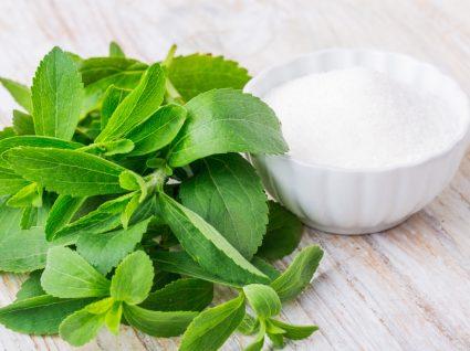 Stevia em planta e em pó
