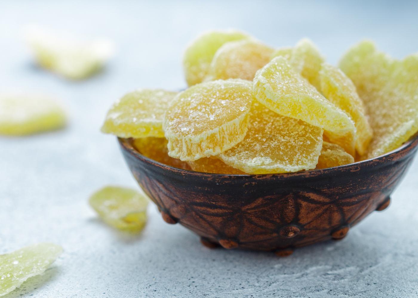 fruta cristalizada gomos de laranja e limao cristalizados