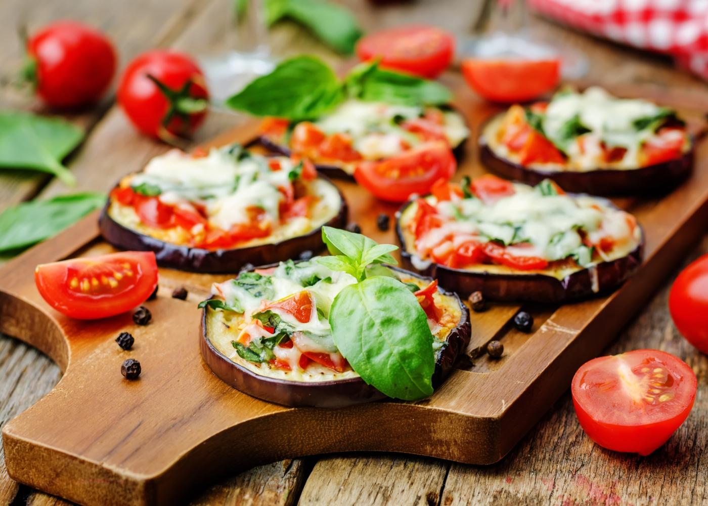 rodelas de pizza de beringela
