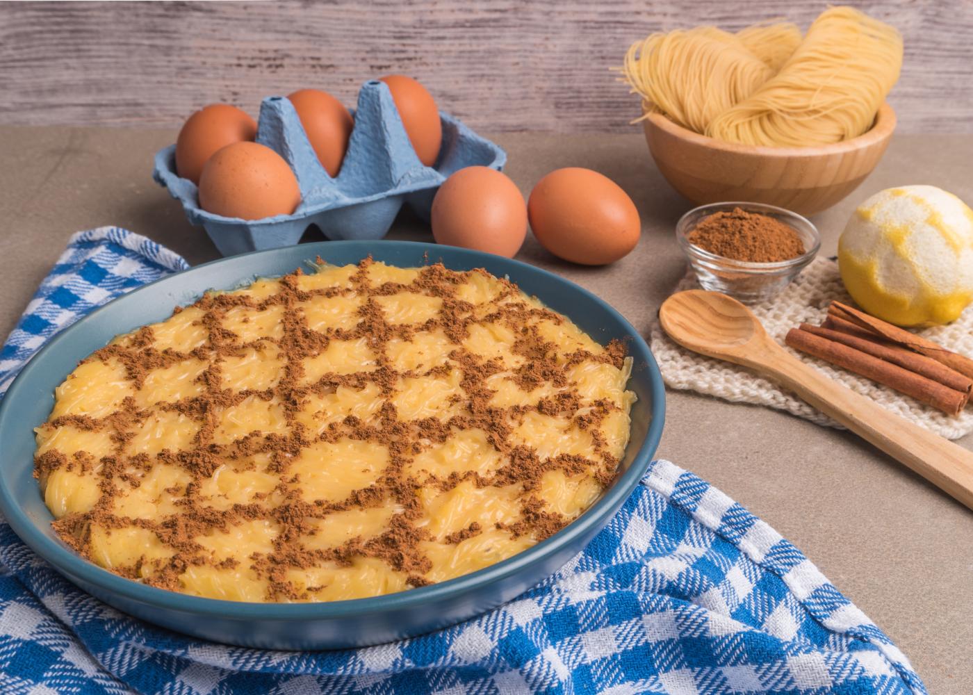 aletria com ovos e raspas de limão