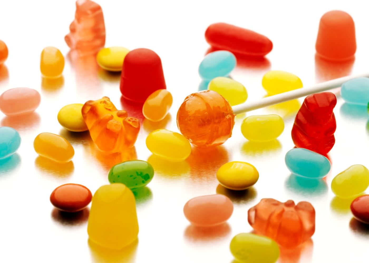 Diferentes tipos de açúcar: rebuçados
