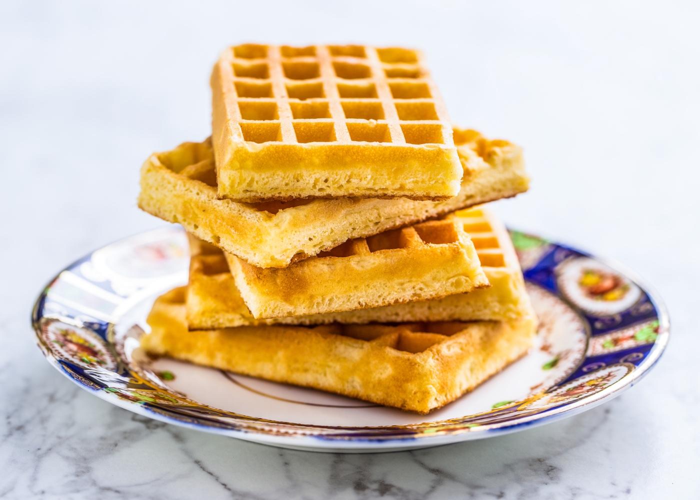 waffles saudáveis empilhadas