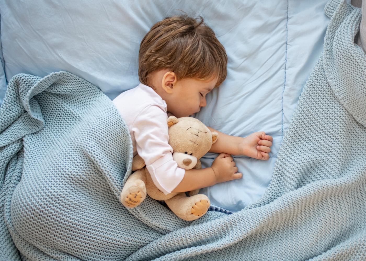 menino a dormir agarrado a peluche