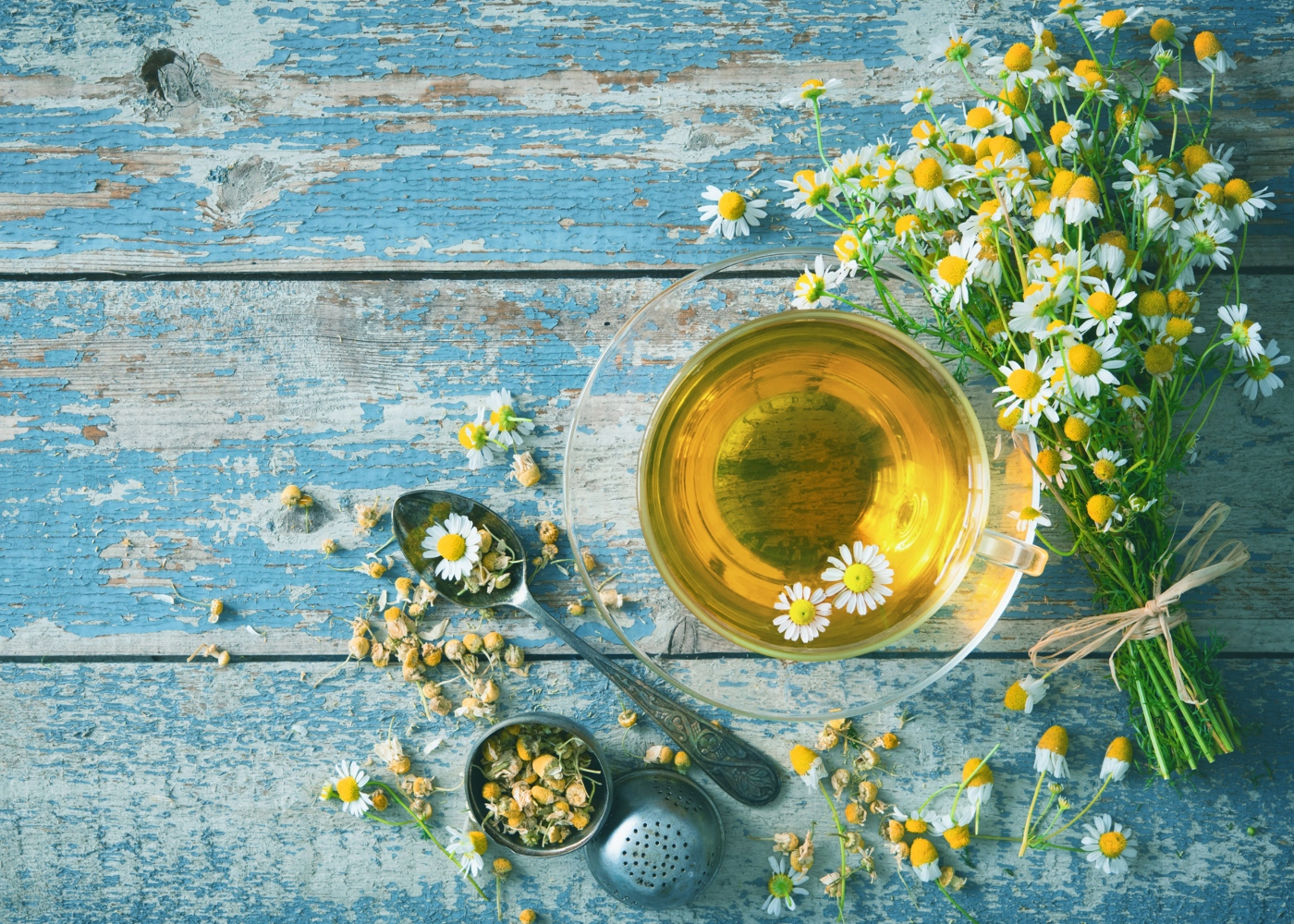 Chá de camomila: chávena e flor