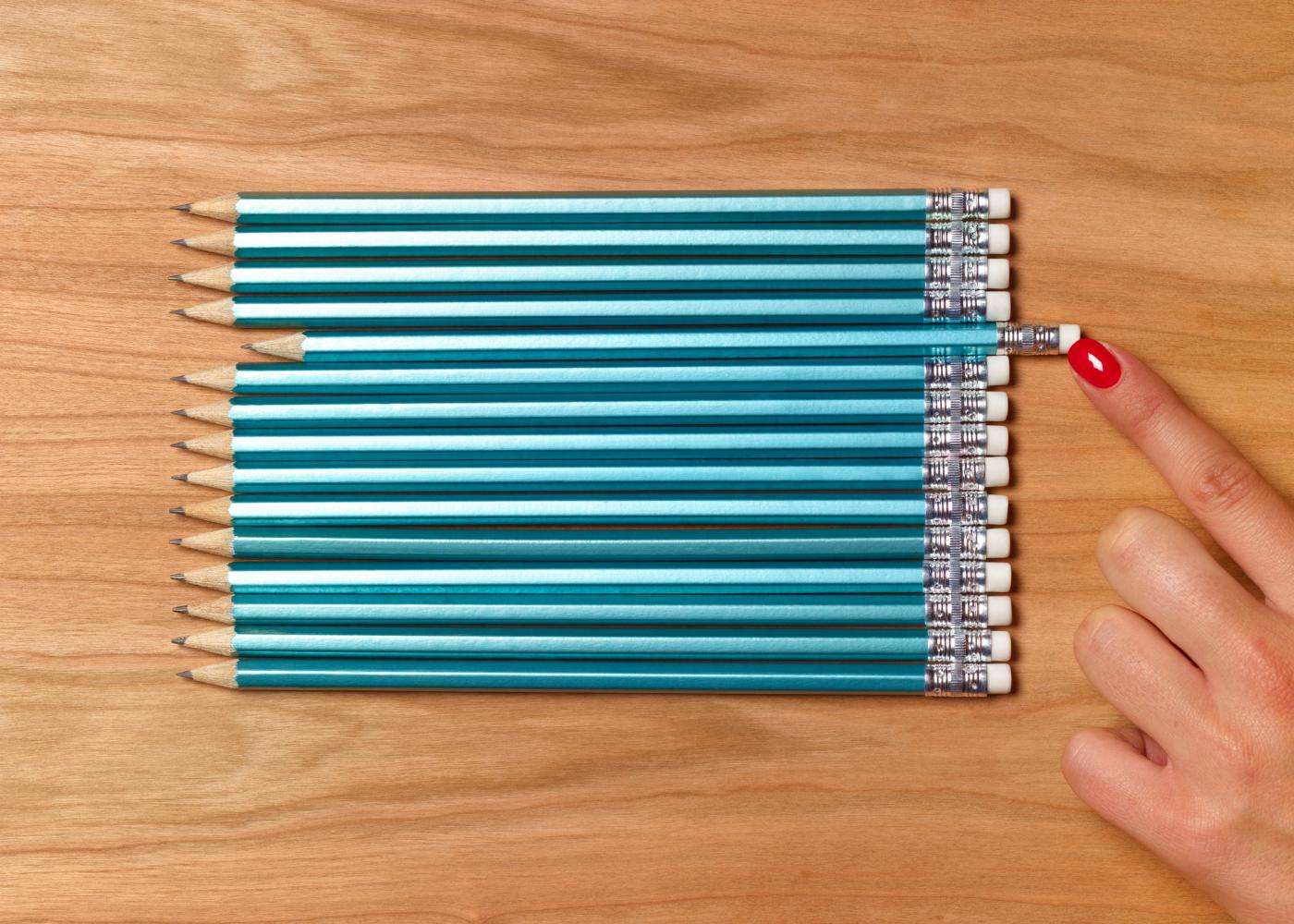 lápis todos à mesma medida