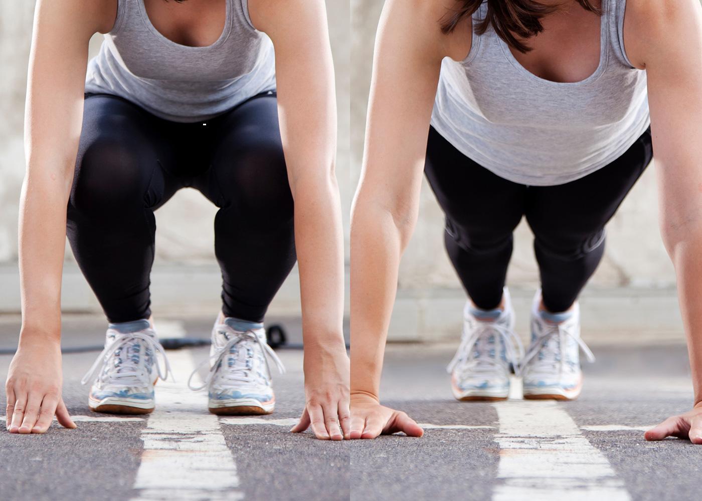 Treino de pernas ao ar livre: burpees sem flexão