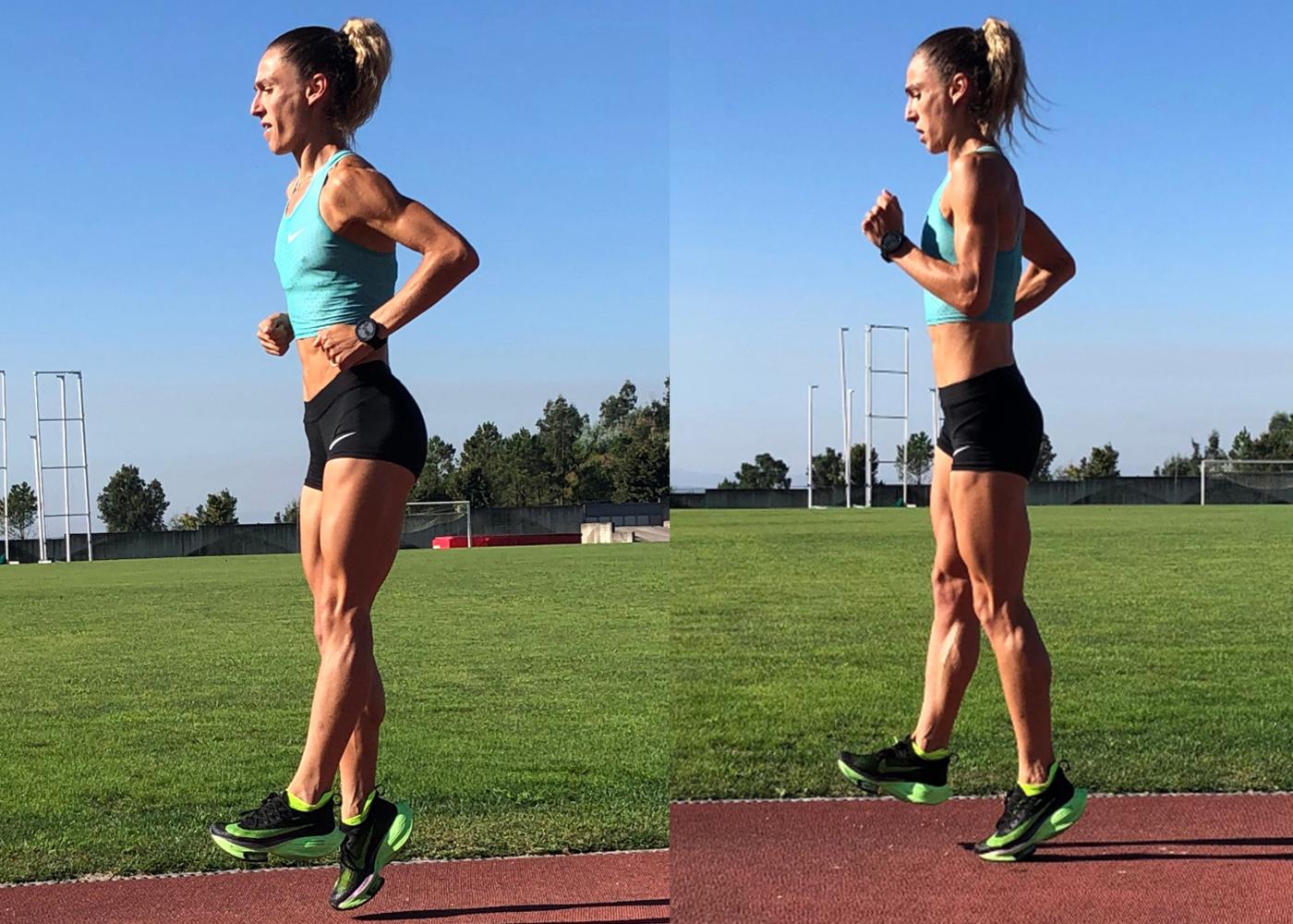 Mulher a correr com técnica de tic-tic