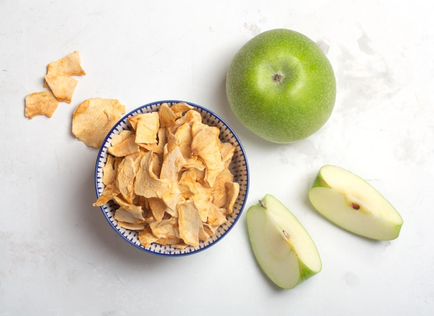 Fruta desidratada: maçã