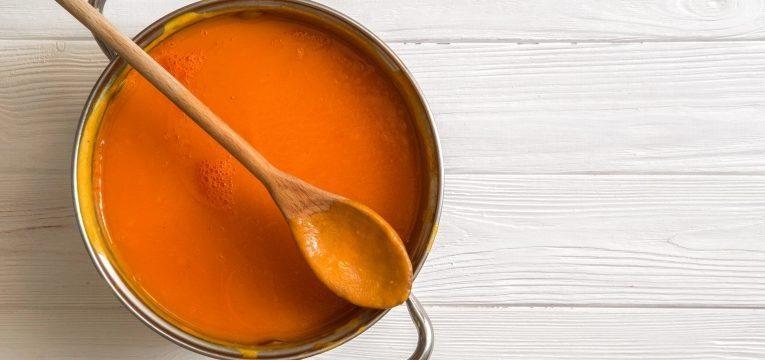 Receitas para um intestino saudavel e Sopa de cenoura, curcuma e gengibre