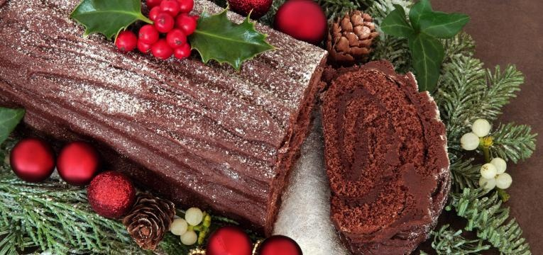 Tronco de Natal de chocolate