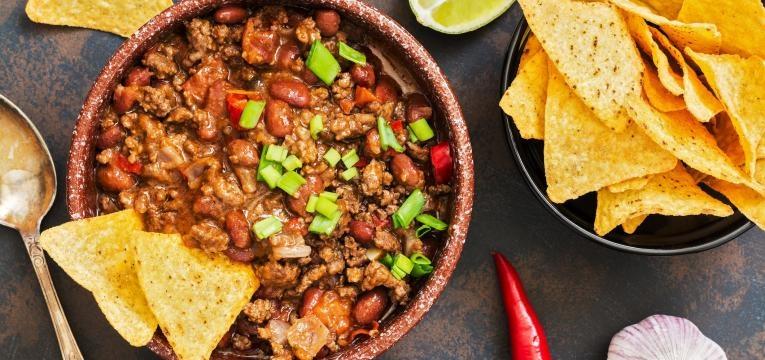 Chili com carne completo