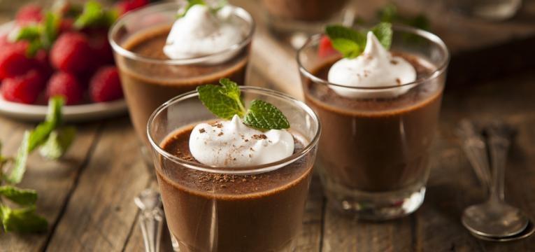 Mousse de chocolate de grao de bico com baunilha