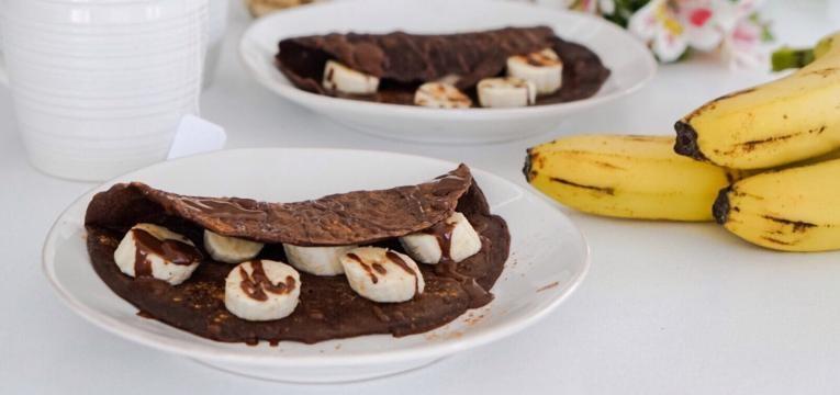 Pequeno almoco saudavel e nutritivo Crepioca de Chocolate