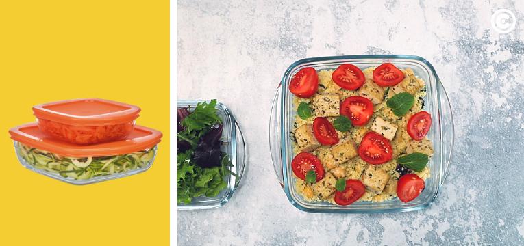 recipientes continente com saladas