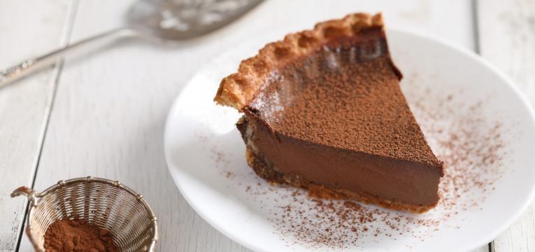 tarte de mousse de chocolate e cafe