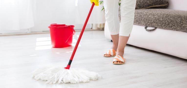 cistite em caes mulher a limpar o chao