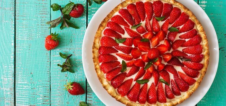 tarte de natas com morangos
