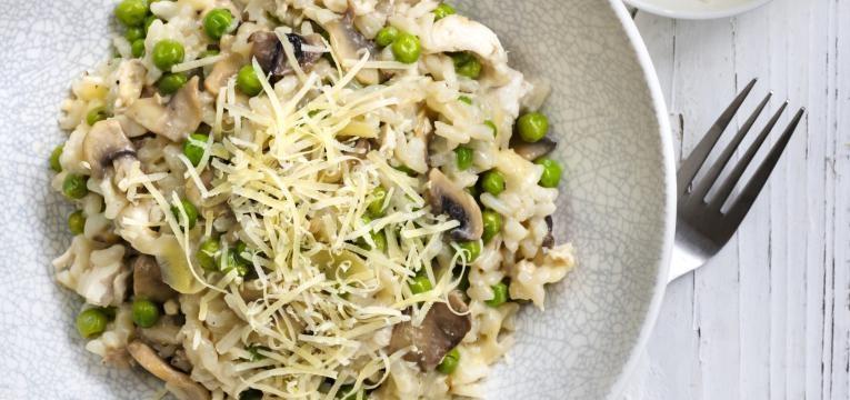 risotto vegan com seitan