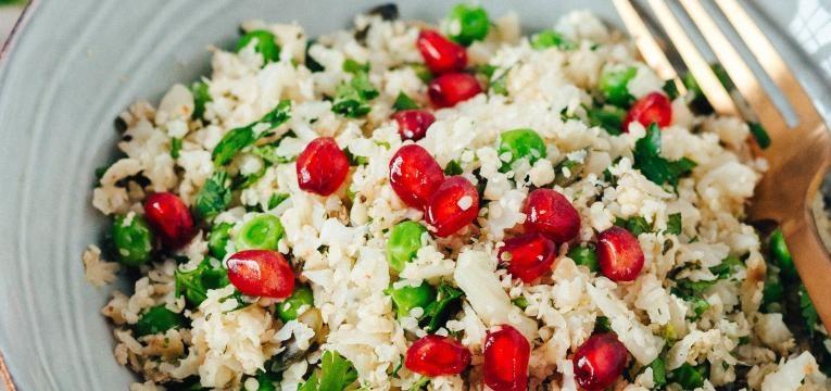 receita de arroz de couve flor com ervilhas