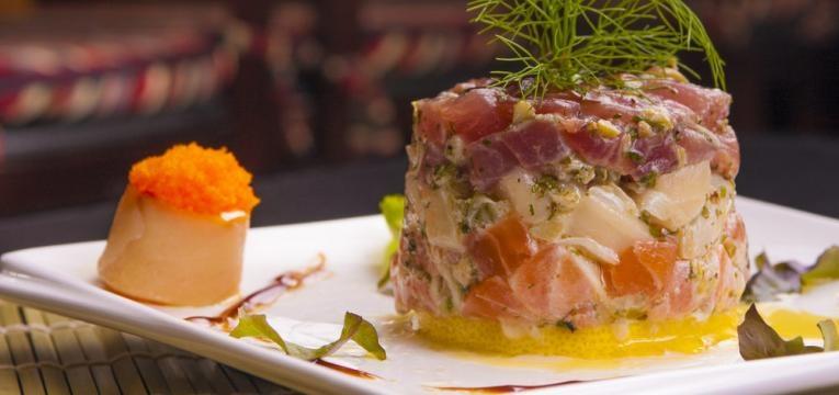 Ceviche de salmao com atum