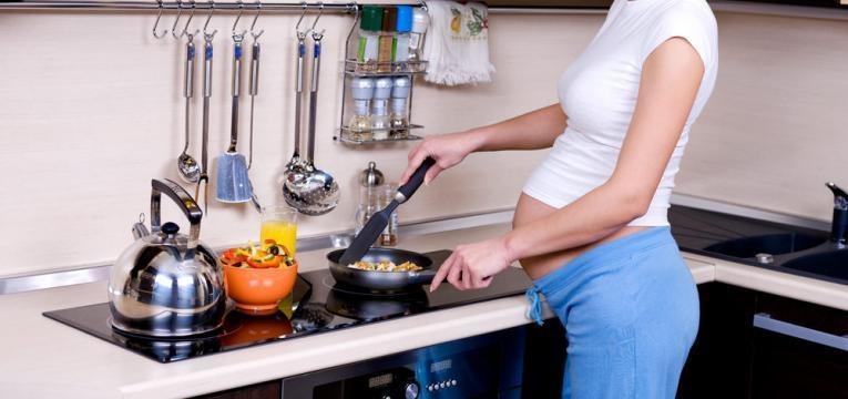 gravida e legumes cozinhados