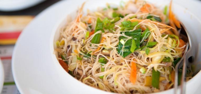 Receitas com Noodles de arroz com vegetais