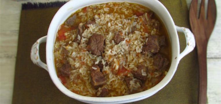arroz com carne guisada