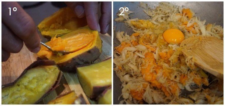 batata-doce recheada com bacalhau 1 e 2 passo