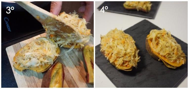 batata-doce recheada com bacalhau 3 e 4 passo