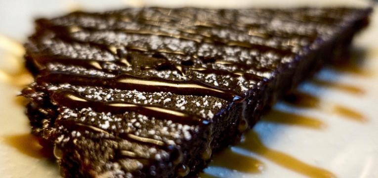 Tarte de chocolate rapida com ganache