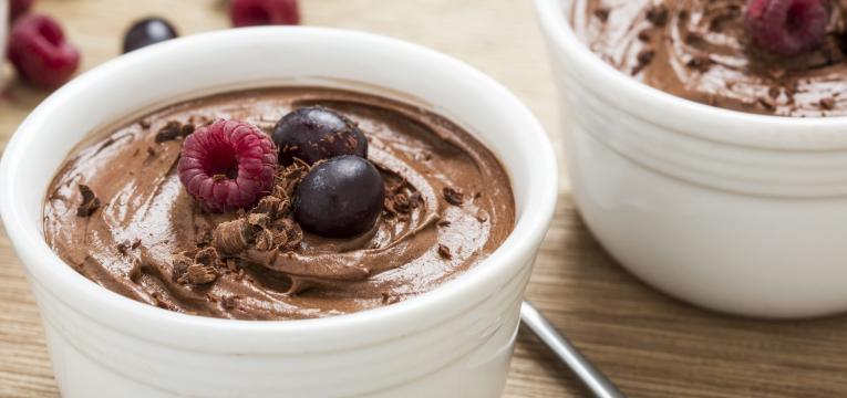 mousse de chocolate e batata doce