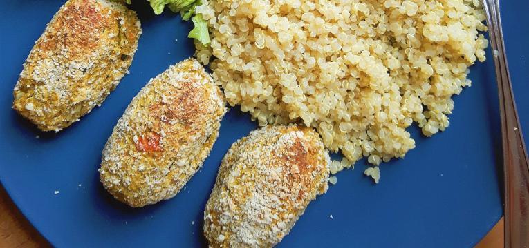 croquetes de grao brocolos e amendoa