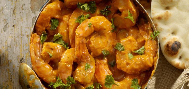 caril de camarão e cogumelos em receitas para a sexta-feira santa