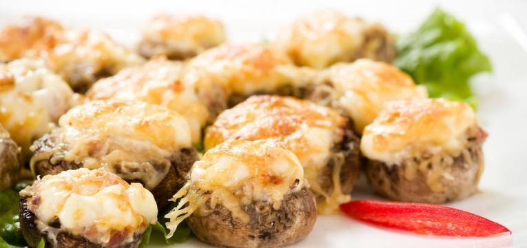 Receitas no forno e Cogumelos no forno com atum