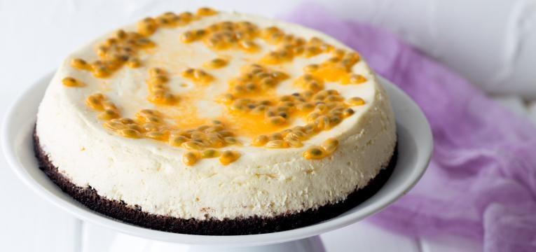Cheesecake de maracuja com chocolate branco