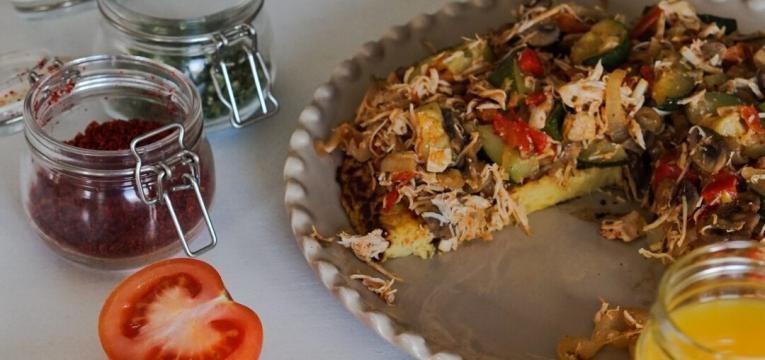 receita de tortilha de batata-doce e frango