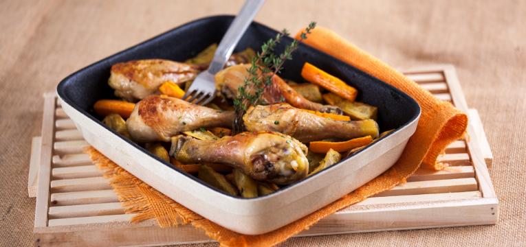 perninhas de frango no forno com batata doce
