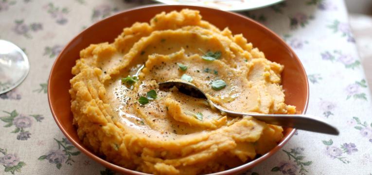 puré de batata-doce e receitas light com batata-doce