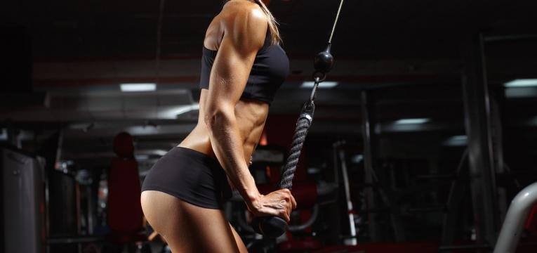 Treino de ginasio para tonificar os bracos e Extensao de triceps na corda