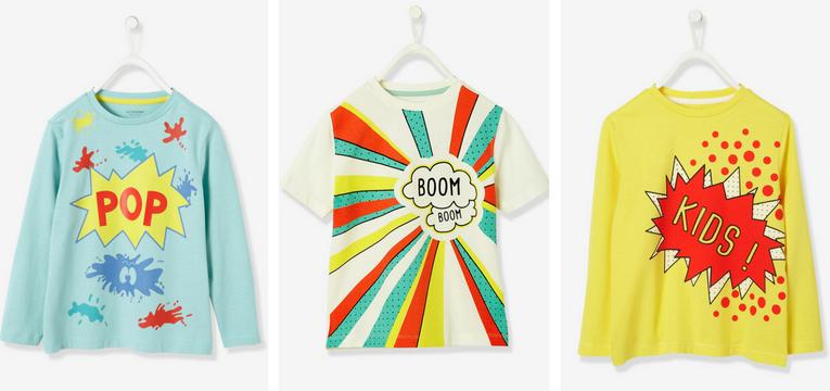 vertbaudet tshirts pop art
