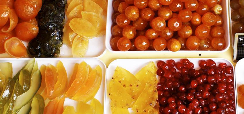 alimentos que nao deve cozinhar na sua salada e frutas cristalizadas