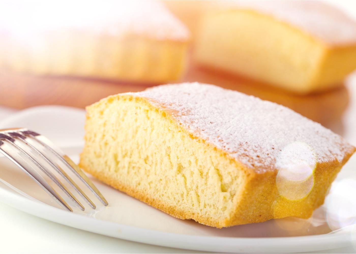 fatia de bolo com polvilho doce