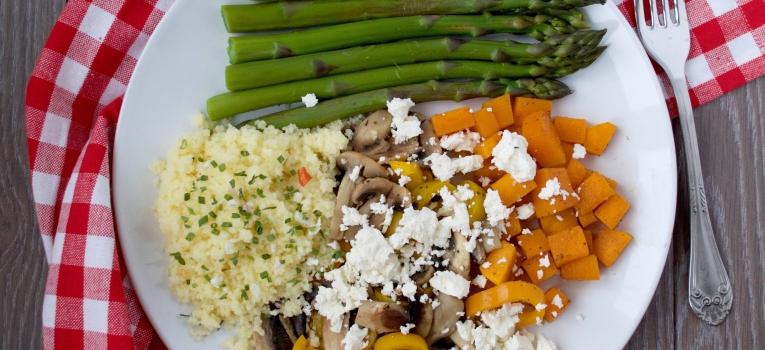 legumes assados com queijo feta
