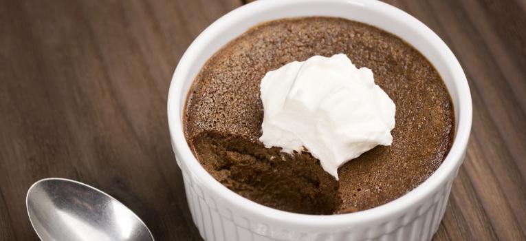 mousse de chocolate e baunilha