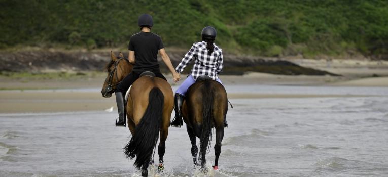 passeio a cavalo a beira mar