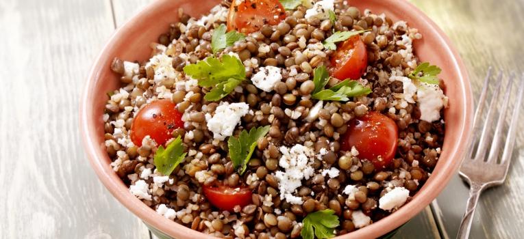 salada de lentilhas e quinoa