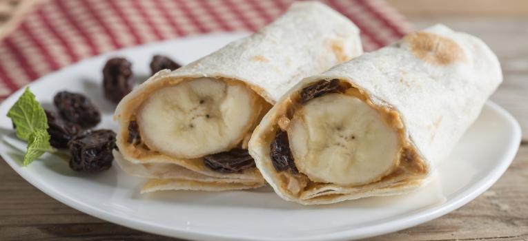 tortilha de manteiga de amendoin e banana