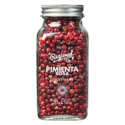 frasco com especiaria pimenta rosa